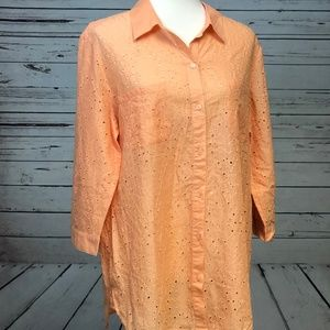 Chico's Tops - Chicos Eyelet Embroidered Blouse Peach sz 2 Medium